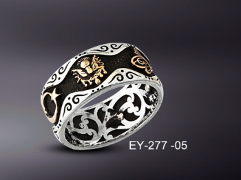 925 Ayar Gümüş Yüzük Tesbih Kombin - Thumbnail