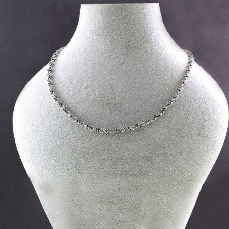 925 Ayar Gümüş Ayyıldız İşlemeli Erkek Zincir - Thumbnail
