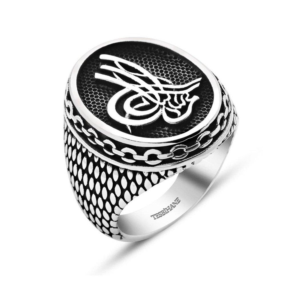 Tuğra Motifli Zincir Tasarım 925 Ayar Gümüş Erkek Yüzük
