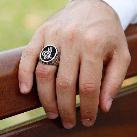 Tuğra Motifli Zincir Tasarım 925 Ayar Gümüş Erkek Yüzük - Thumbnail