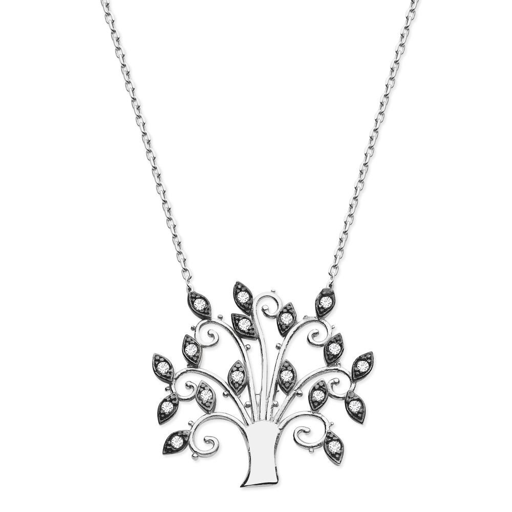 925 Ayar Gümüş Zirkon Ağaç Kolye