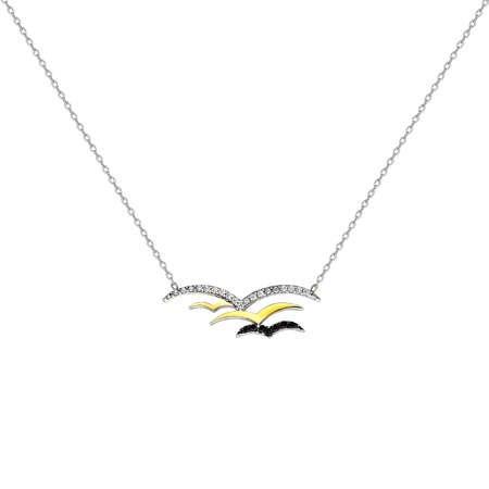 Zirkon Taşlı Kuş Tasarım 925 Ayar Gümüş Bayan Kolye - Thumbnail