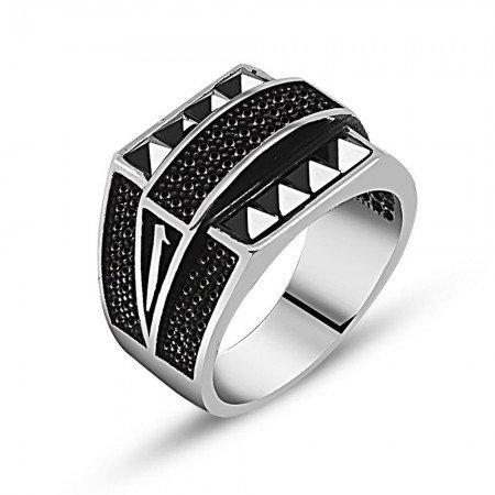 925 Ayar Gümüş Zirkon Oniks Taşlı Yüzük (model 2) - Thumbnail