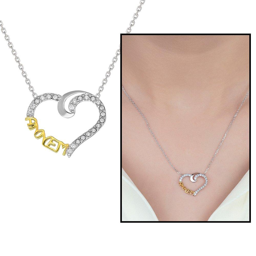 Beyaz Zirkon Taşlı Annem Yazılı Kalp Tasarım 925 Ayar Gümüş Bayan Kolye