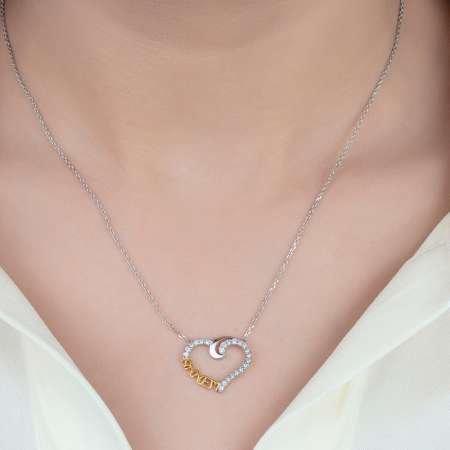 Beyaz Zirkon Taşlı Annem Yazılı Kalp Tasarım 925 Ayar Gümüş Bayan Kolye - Thumbnail