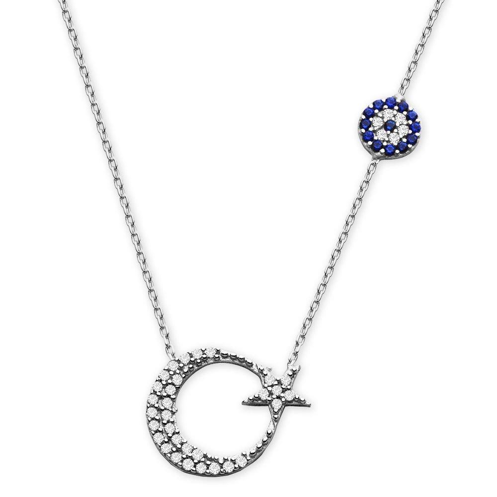 925 Ayar Gümüş Zirkon Taşlı Ay Yıldız Kolye (model-2)