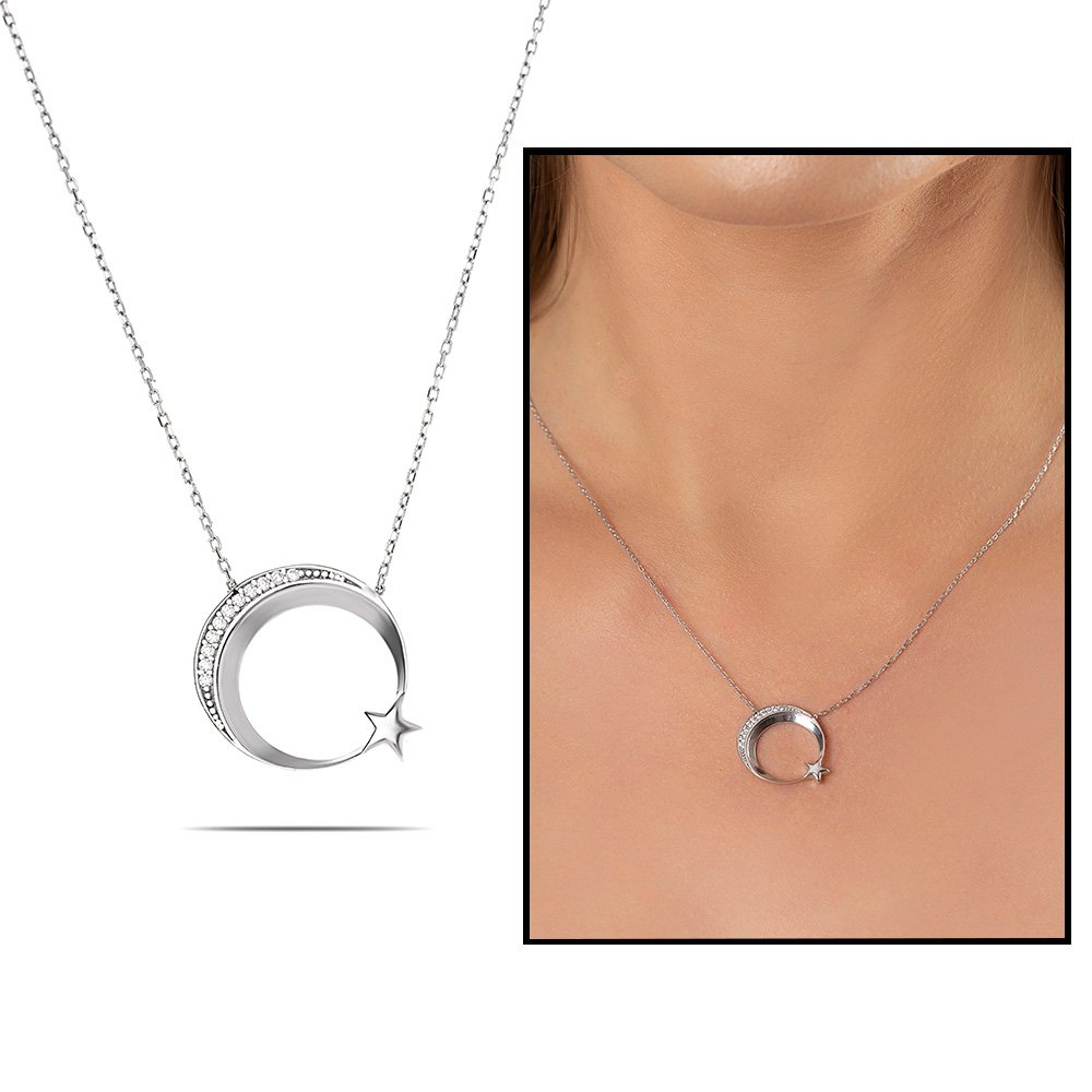 Beyaz Zirkon Taşlı Ayyıldız Tasarım 925 Ayar Gümüş Bayan Kolye