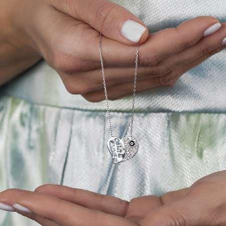 925 Ayar Gümüş Zirkon Taşlı Canım Annem Kolye - Thumbnail