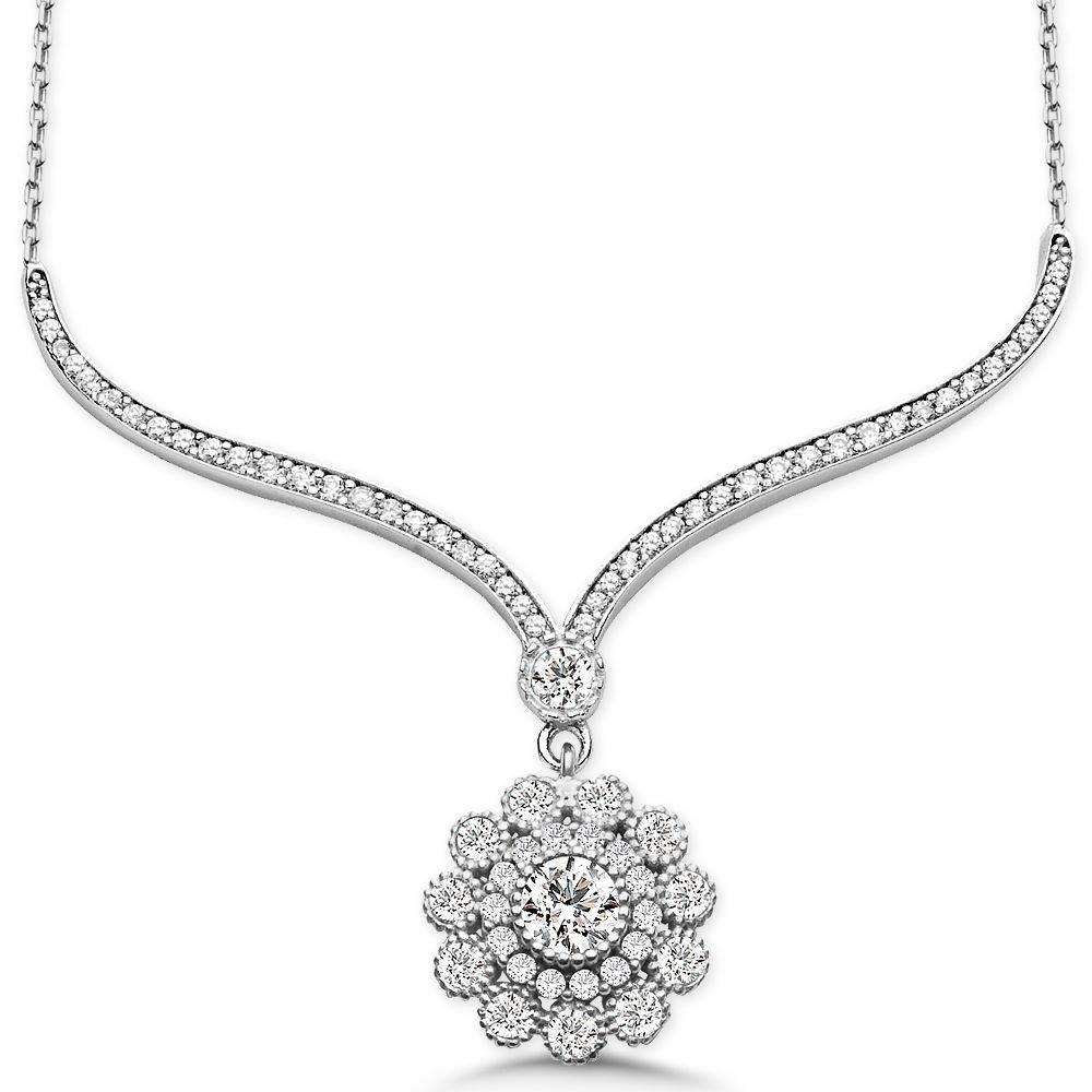 925 Ayar Gümüş Zirkon Taşlı Çiçek Gerdanlık