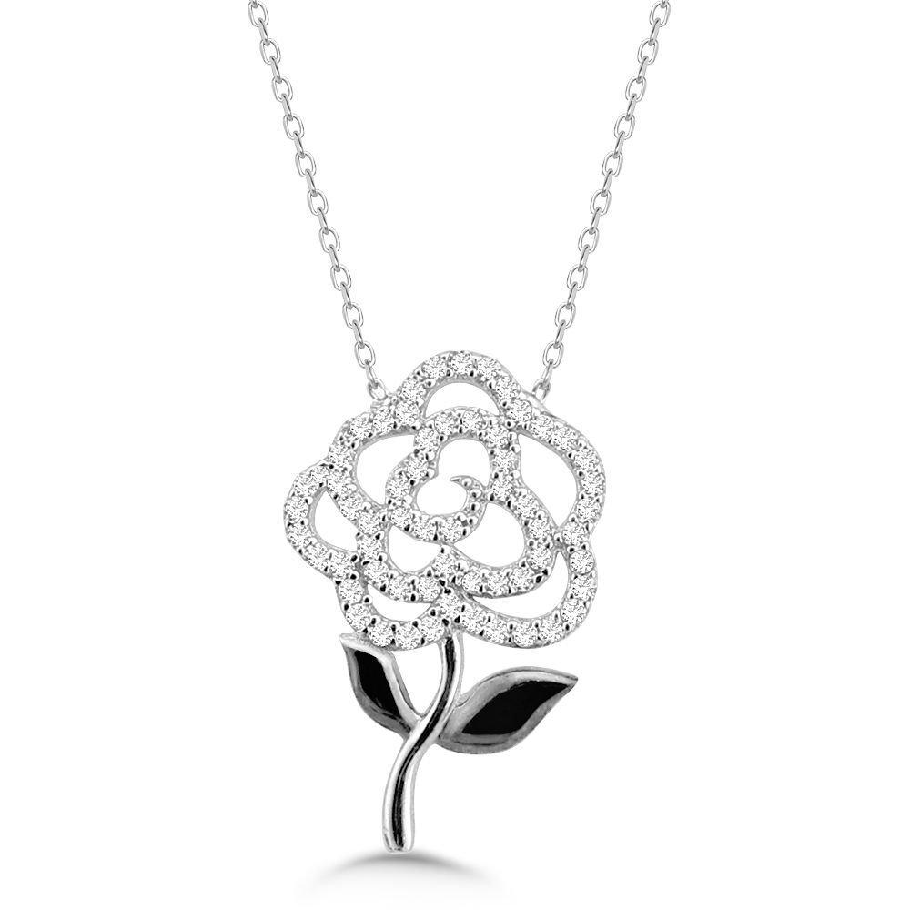 925 Ayar Gümüş Zirkon Taşlı Çiçek Kolye