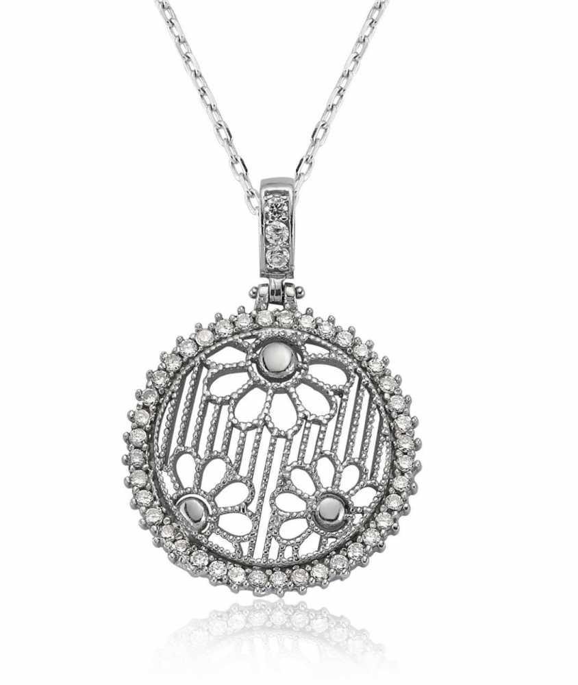 925 Ayar Gümüş Zirkon Taşlı Çiçek Model Kolye