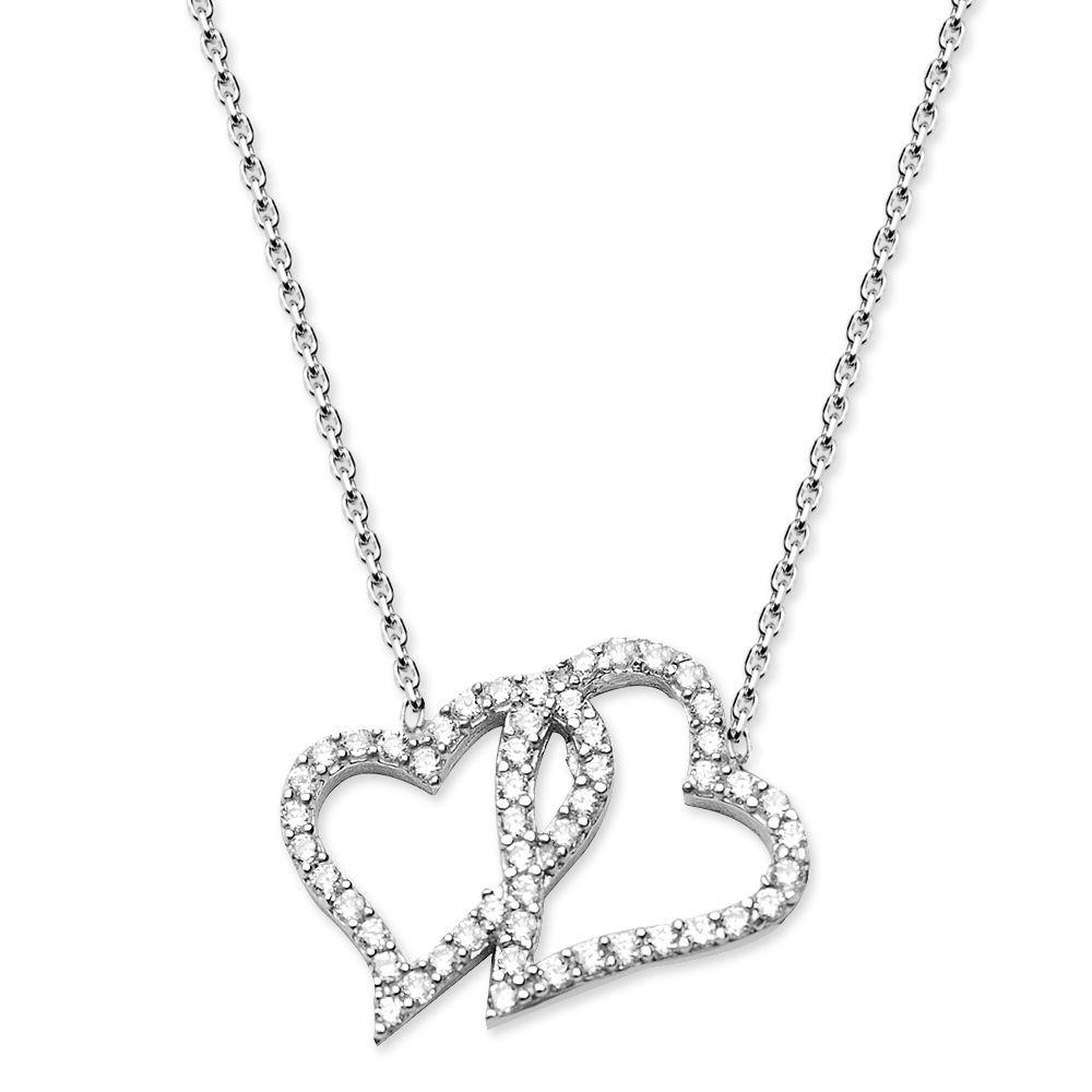925 Ayar Gümüş Zirkon Taşlı Çift Kalp Kolye