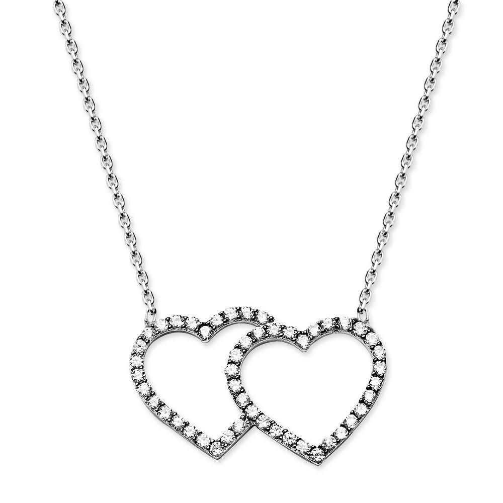 925 Ayar Gümüş Zirkon Taşlı Çift Kalp Kolye (M-2)