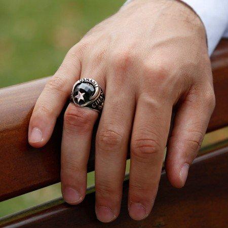 Arma İşlemeli Ayyıldız Tasarım Siyah Zirkon Taşlı 925 Ayar Gümüş Yüzük - Thumbnail