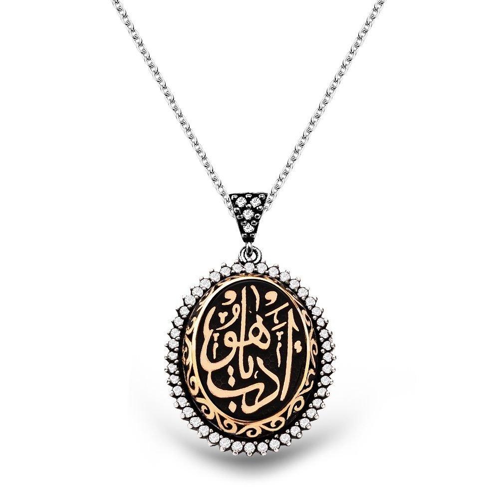 925 Ayar Gümüş Zirkon Taşlı Edeb Ya Hu Yazılı Kolye