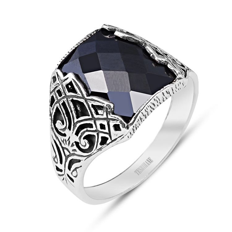 925 Ayar Gümüş Zirkon Taşlı Geleneksel Motif Yüzük