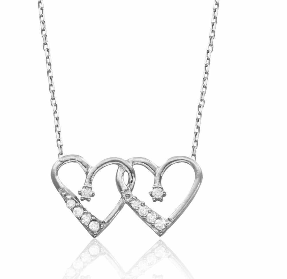 925 Ayar Gümüş Zirkon Taşlı Kalbim Kalbinde Kolye