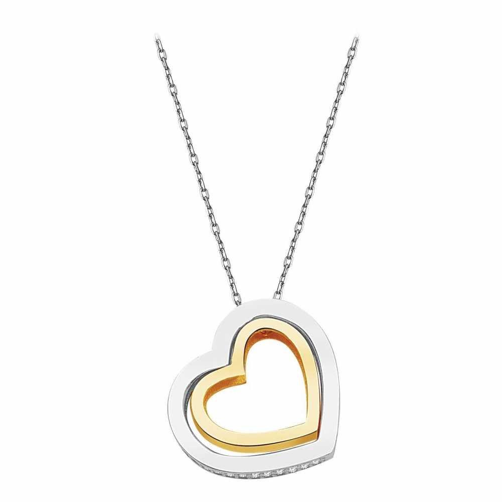 925 Ayar Gümüş Zirkon Taşlı Kalp Kolye