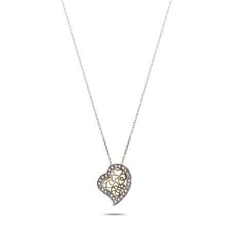 925 Ayar Gümüş Zirkon Taşlı Kalp Kolye - Thumbnail