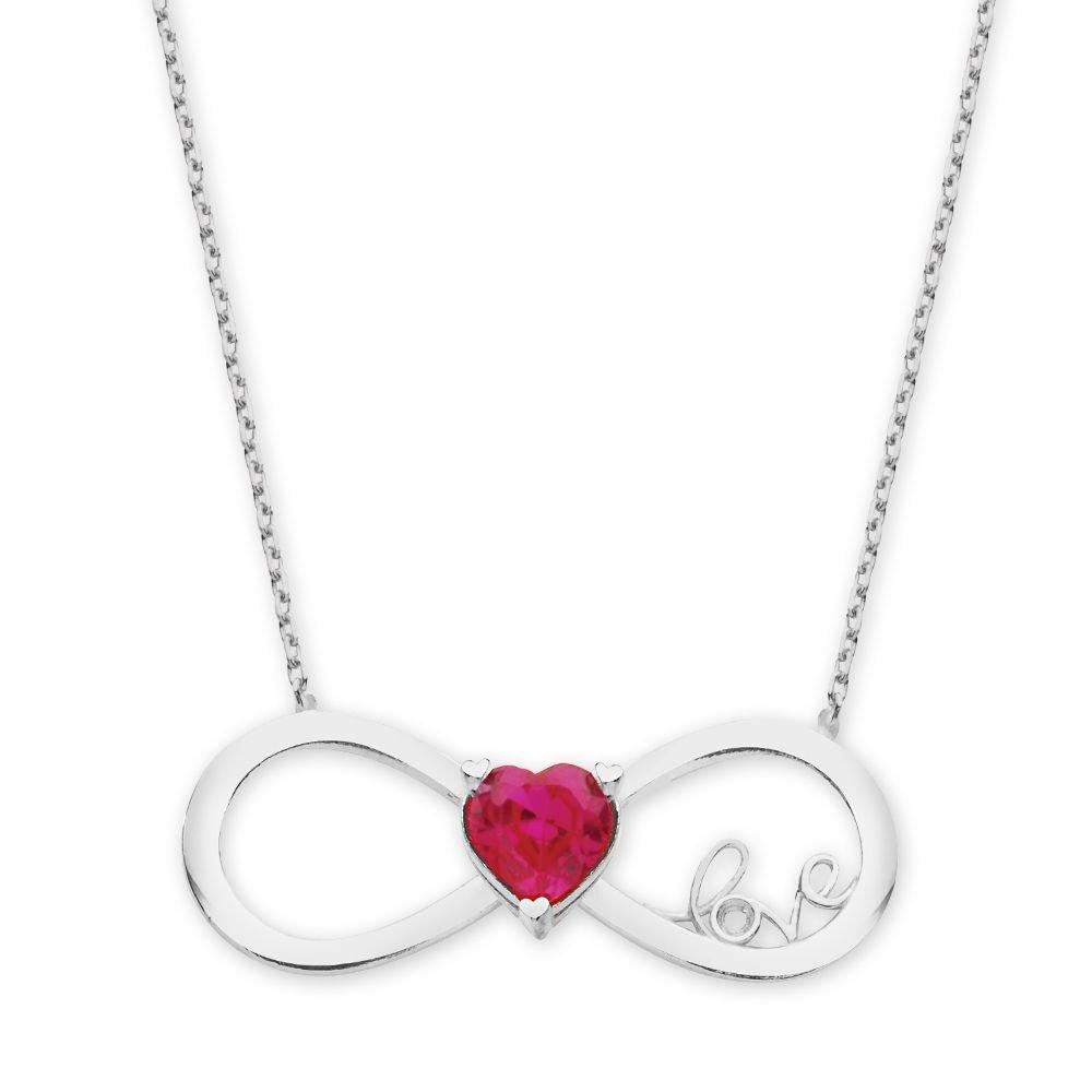 925 Ayar Gümüş Zirkon Taşlı Kalp Sonsuzluk Love Kolye (M-2)