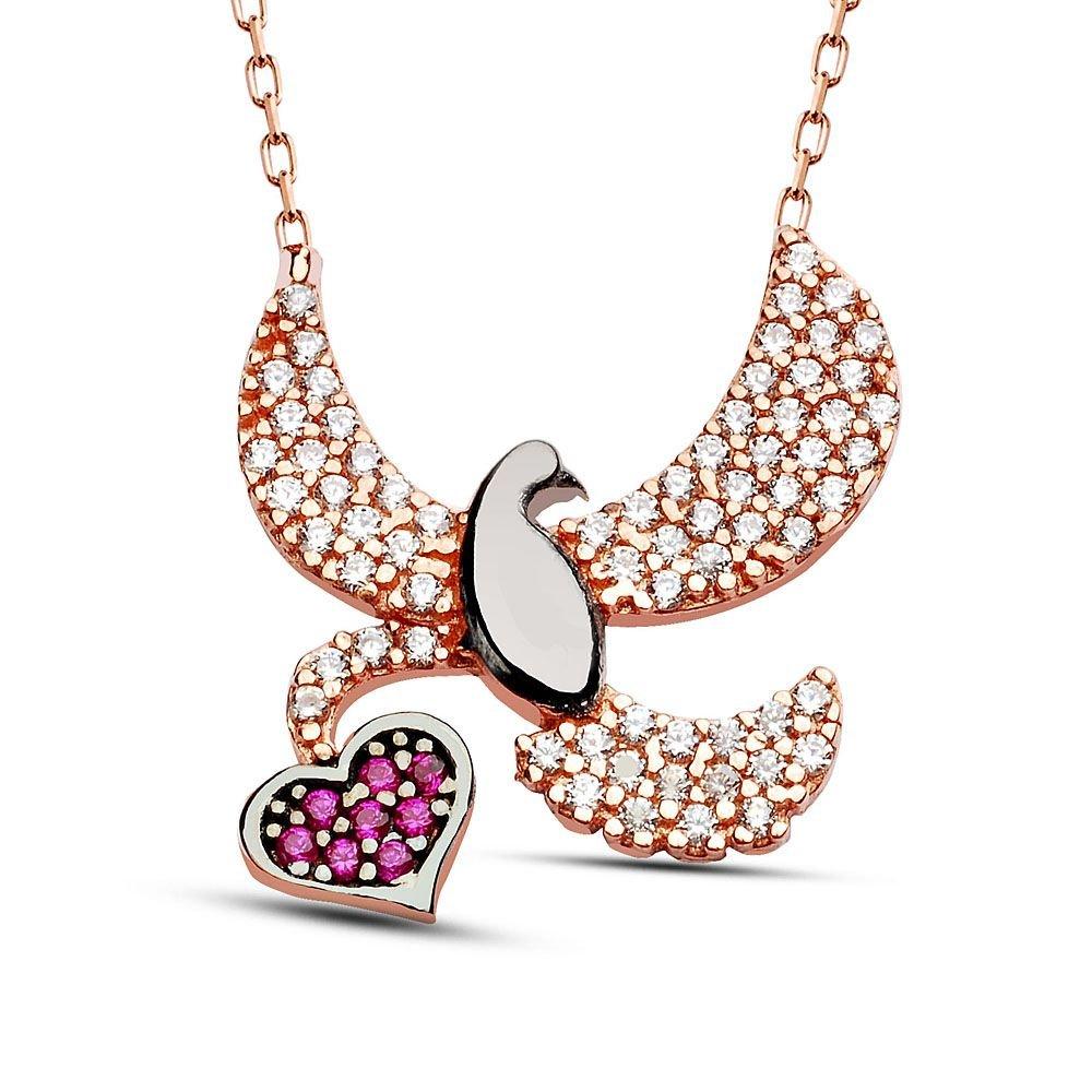 925 Ayar Gümüş Zirkon Taşlı Kalp ve Kuş Tasarım Kolye
