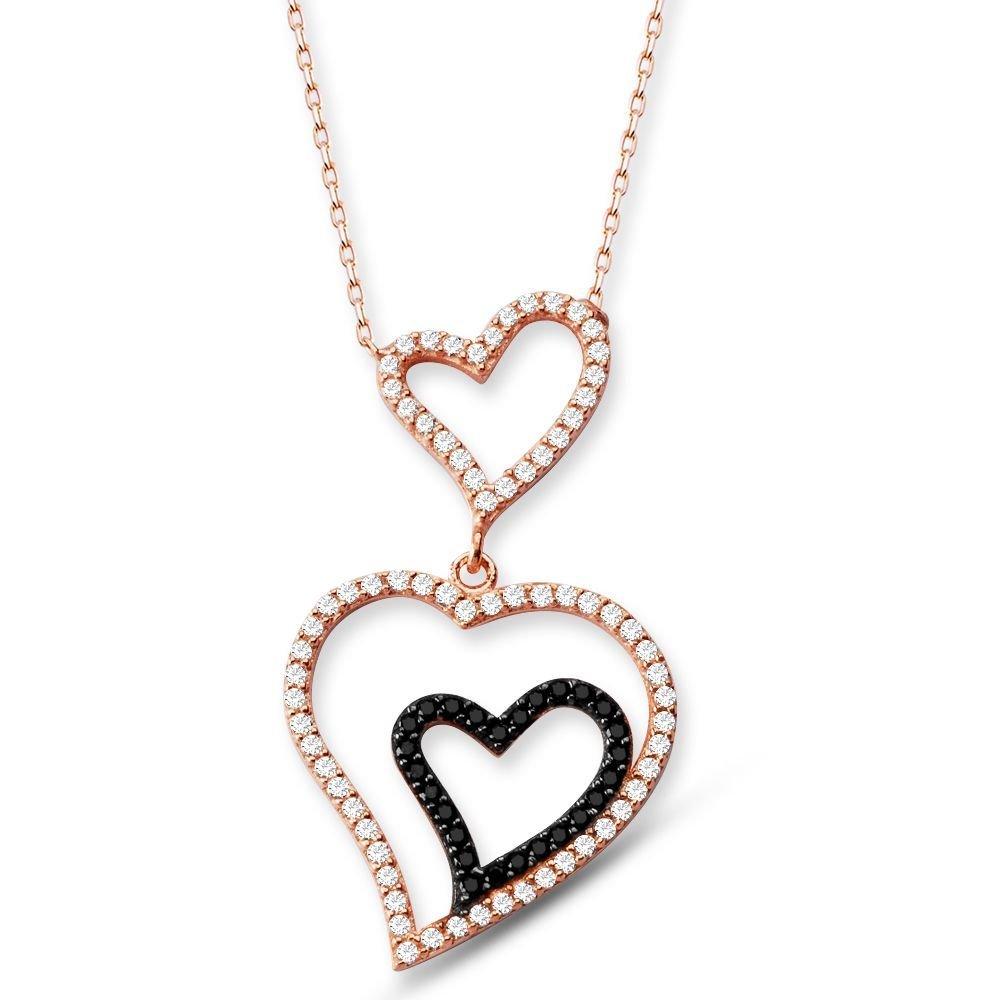 925 Ayar Gümüş Zirkon Taşlı Kalpler Kolye
