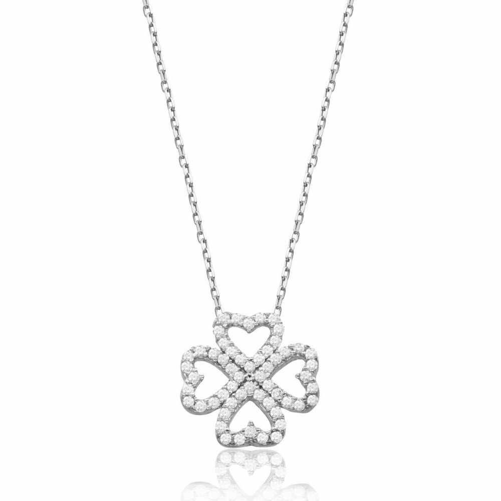 925 Ayar Gümüş Zirkon Taşlı Kalpten Çiçek Kolye