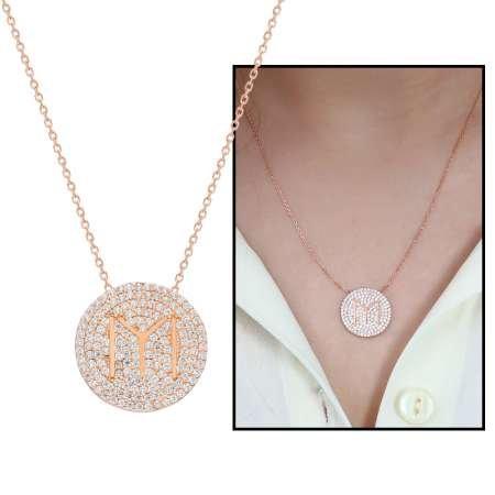 Beyaz Zirkon Taşlı Kayı Boyu Tasarım 925 Ayar Gümüş Bayan Kolye - Thumbnail