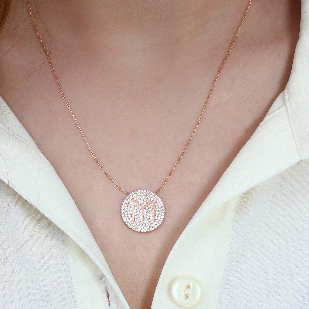 Beyaz Zirkon Taşlı Kayı Boyu Tasarım 925 Ayar Gümüş Bayan Kolye