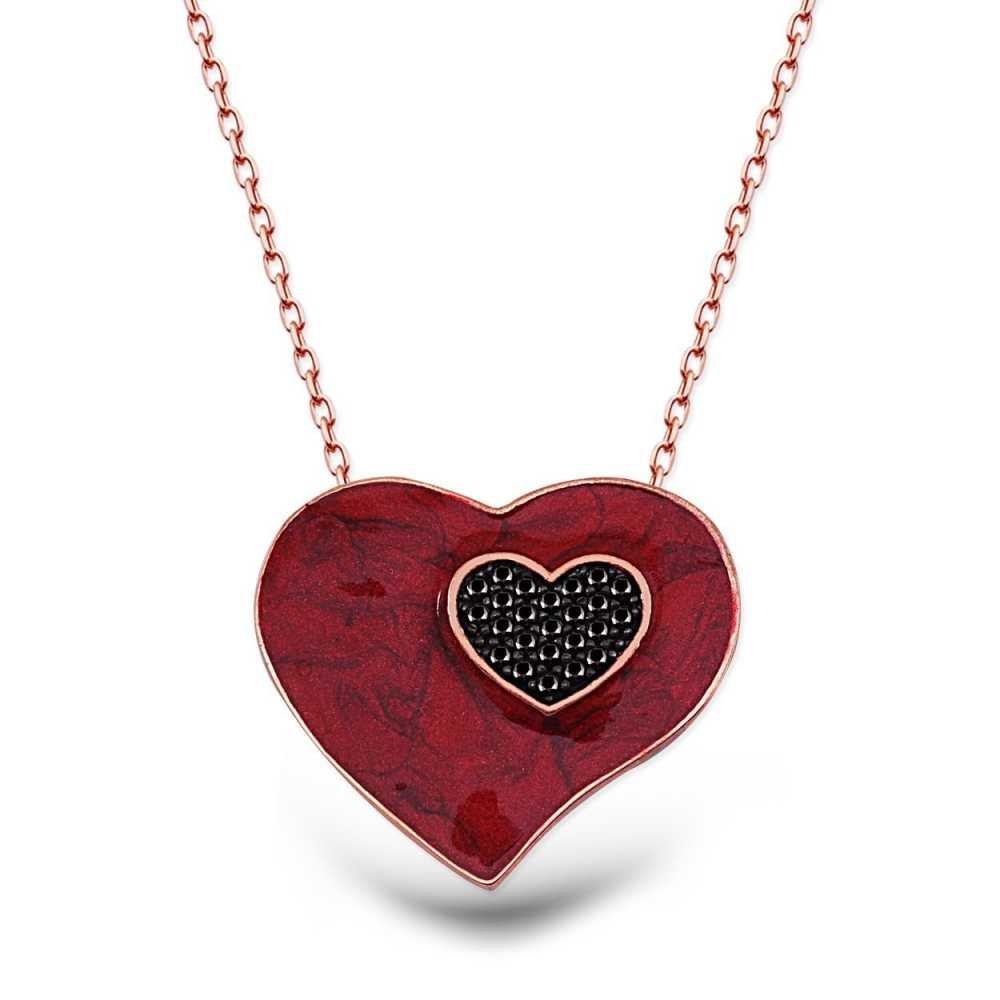 925 Ayar Gümüş Zirkon Taşlı Kırmızı Kalp Kolye