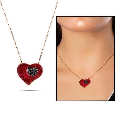 925 Ayar Gümüş Zirkon Taşlı Kırmızı Kalp Kolye - Thumbnail