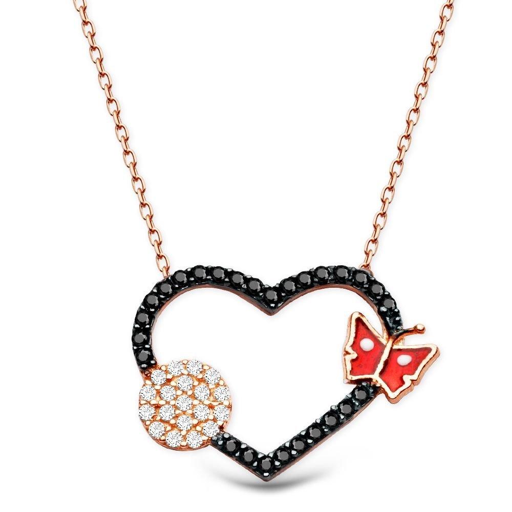 925 Ayar Gümüş Zirkon Taşlı Kırmızı Kelebek Model Kalp Kolye