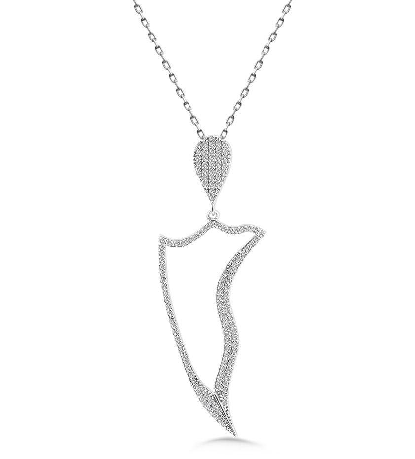 925 Ayar Gümüş Zirkon Taşlı Kolye (M-28)
