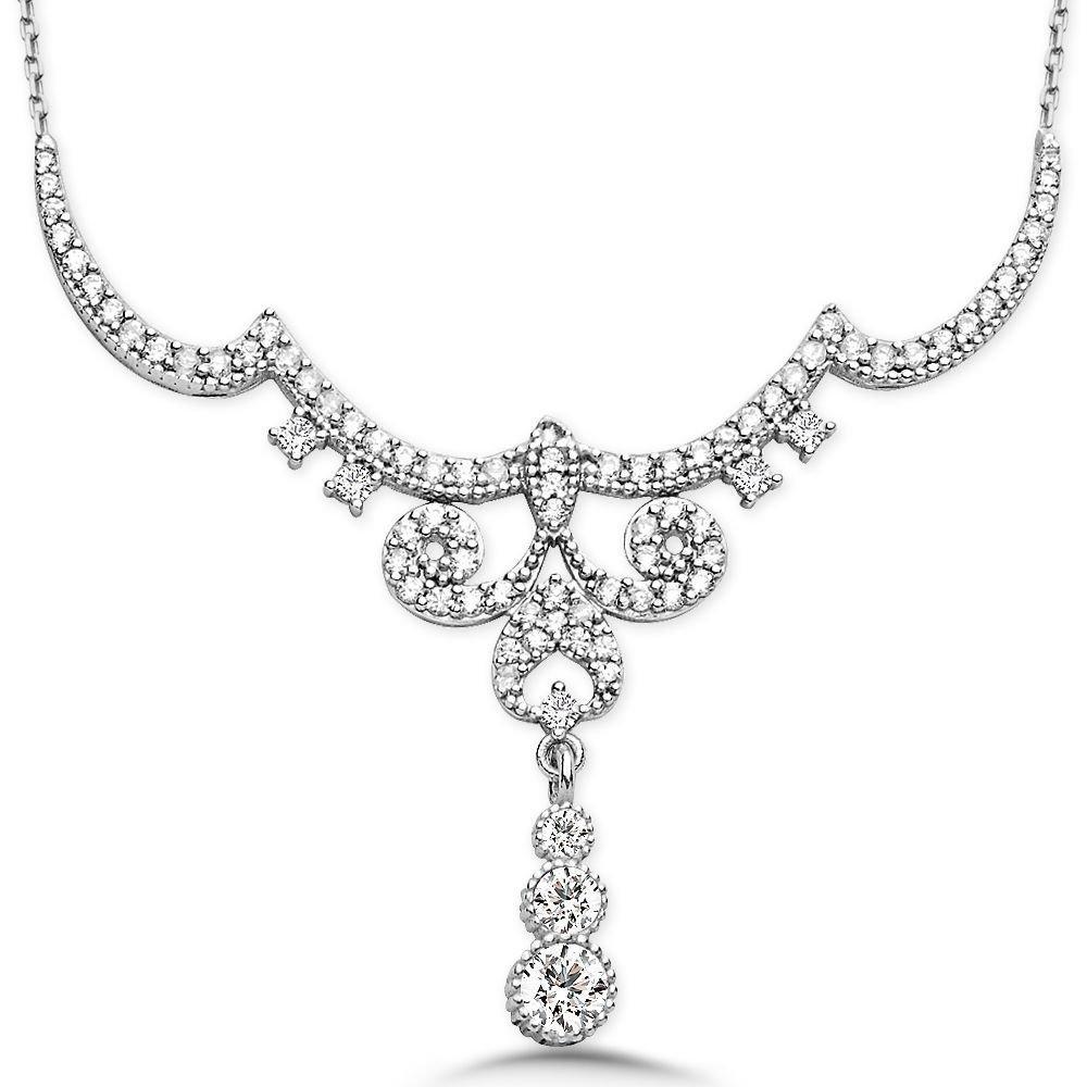 925 Ayar Gümüş Zirkon Taşlı Kraliçe Gerdanlık