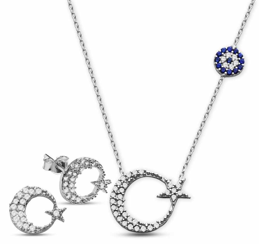 925 Ayar Gümüş Zirkon Taşlı Küpe Ve Ayyıldız Kolye Kombini