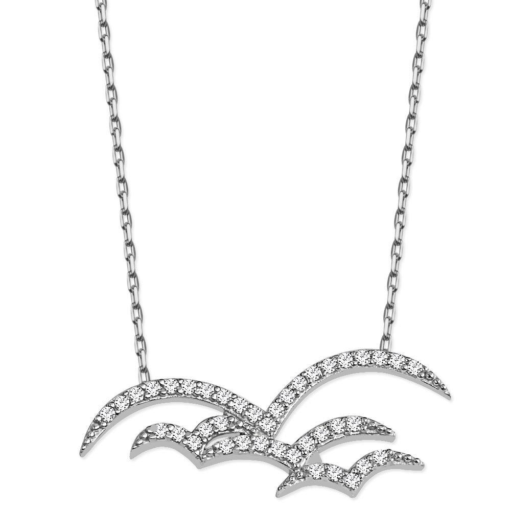 925 Ayar Gümüş Zirkon Taşlı Kuş Sürüsü Kolye