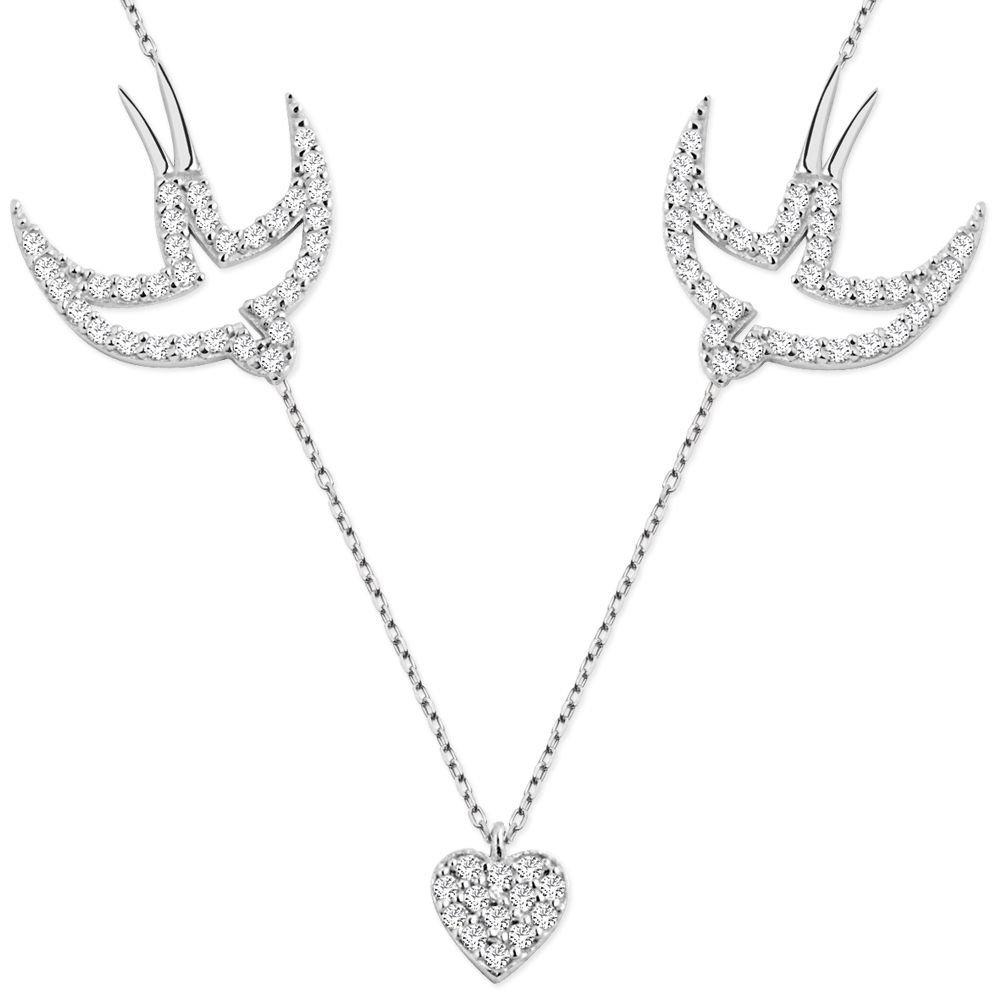 925 Ayar Gümüş Zirkon Taşlı Kuşlu Kalp Kolye