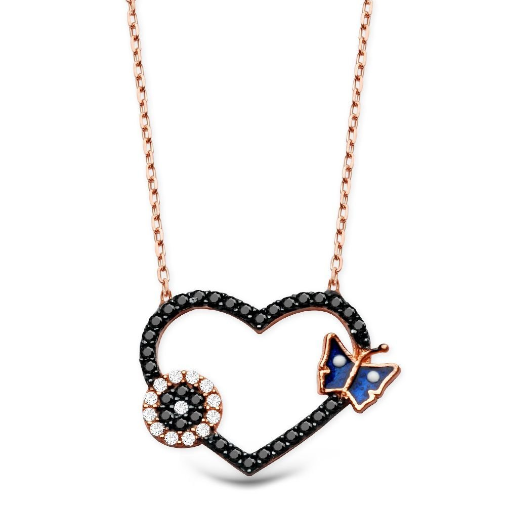 925 Ayar Gümüş Zirkon Taşlı Mavi Kelebek Model Kalp Kolye