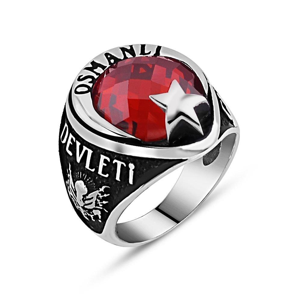 Arma İşlemeli Ayyıldız Tasarım Kırmızı Zirkon Taşlı 925 Ayar Gümüş Yüzük