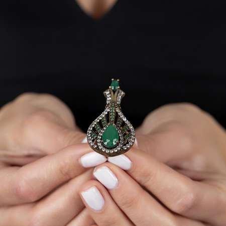925 Ayar Gümüş Zirkon ve Yeşil Ruby Taşlı Otantik Bayan Yüzük - Thumbnail