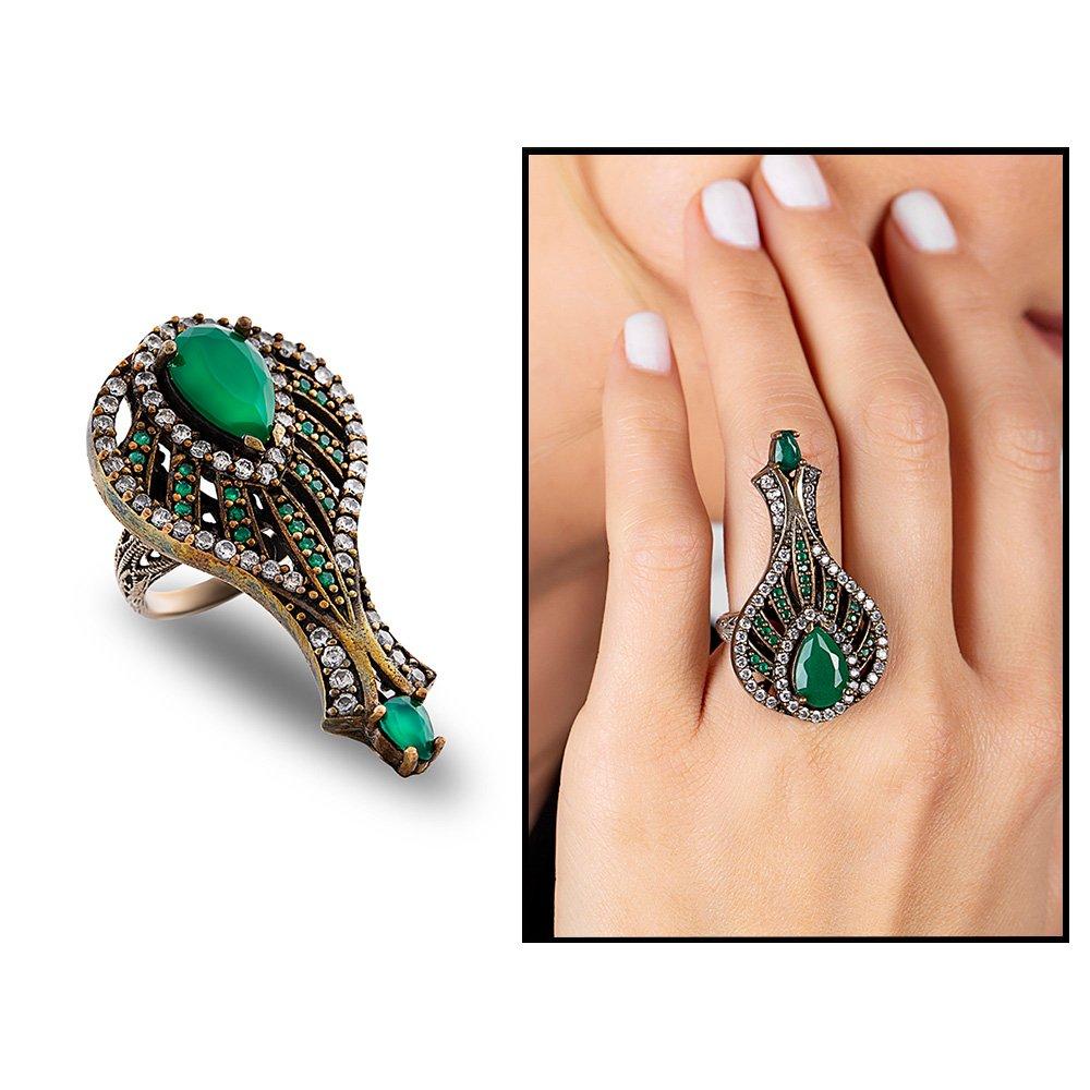 925 Ayar Gümüş Zirkon ve Yeşil Ruby Taşlı Otantik Bayan Yüzük