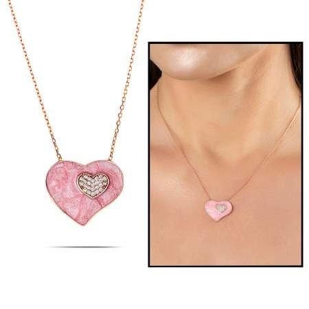 Zirkon Taşlı Çift Kalp Tasarım Pembe 925 Ayar Gümüş Bayan Kolye - Thumbnail