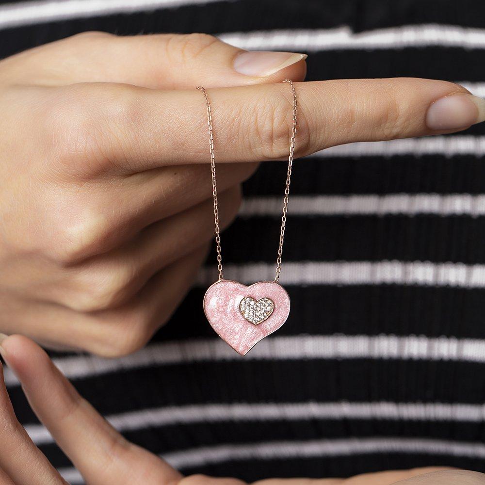 Zirkon Taşlı Çift Kalp Tasarım Pembe 925 Ayar Gümüş Bayan Kolye