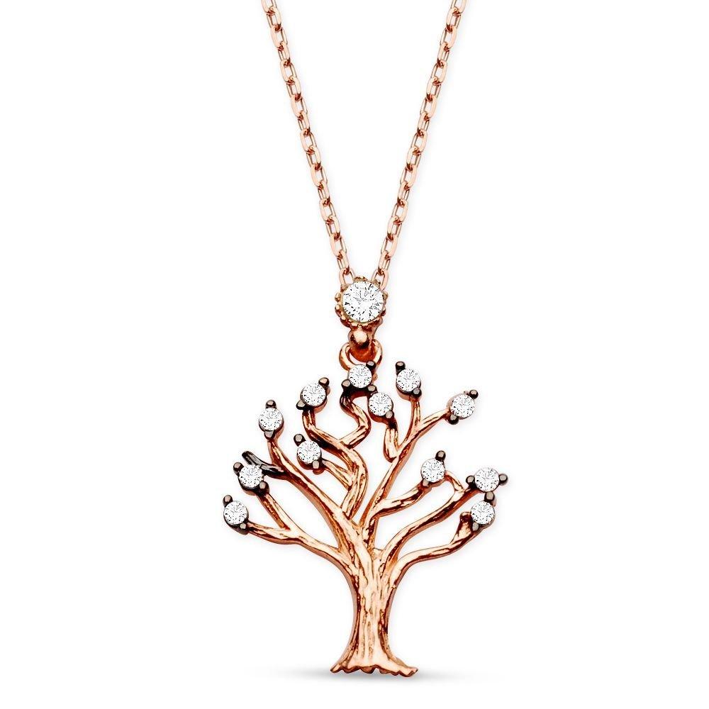 925 Ayar Gümüş Zirkon Taşlı Rose Hayat Ağacı Kolye