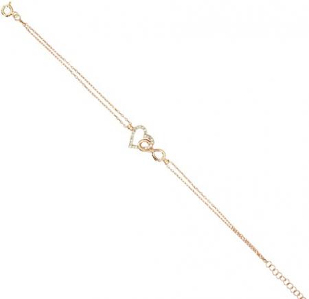 925 Ayar Gümüş Zirkon Taşlı Rose Kaplama Bileklik - Thumbnail