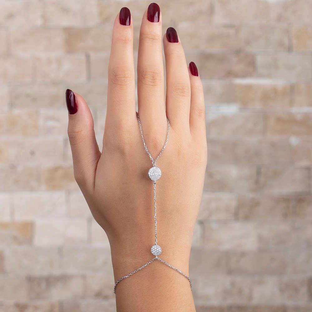 Yuvarlak Tasarım Yoğun Zirkon Taş İşlemeli 925 Ayar Gümüş Şahmeran Bileklik