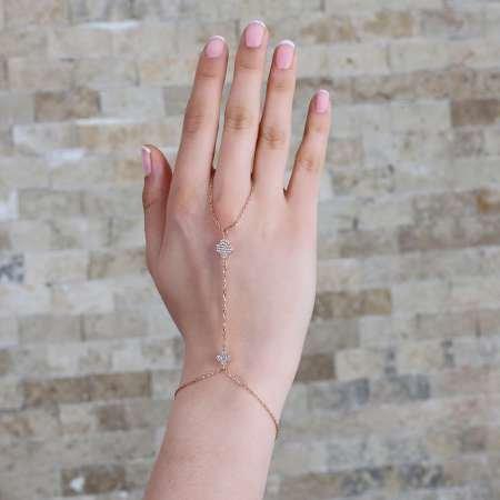 Çiçek Tasarım Zirkon Taşlı 925 Ayar Gümüş Şahmeran Bileklik - Thumbnail