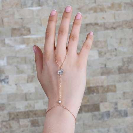 Yuvarlak Tasarım Zirkon Taşlı 925 Ayar Gümüş Şahmeran Bileklik - Thumbnail