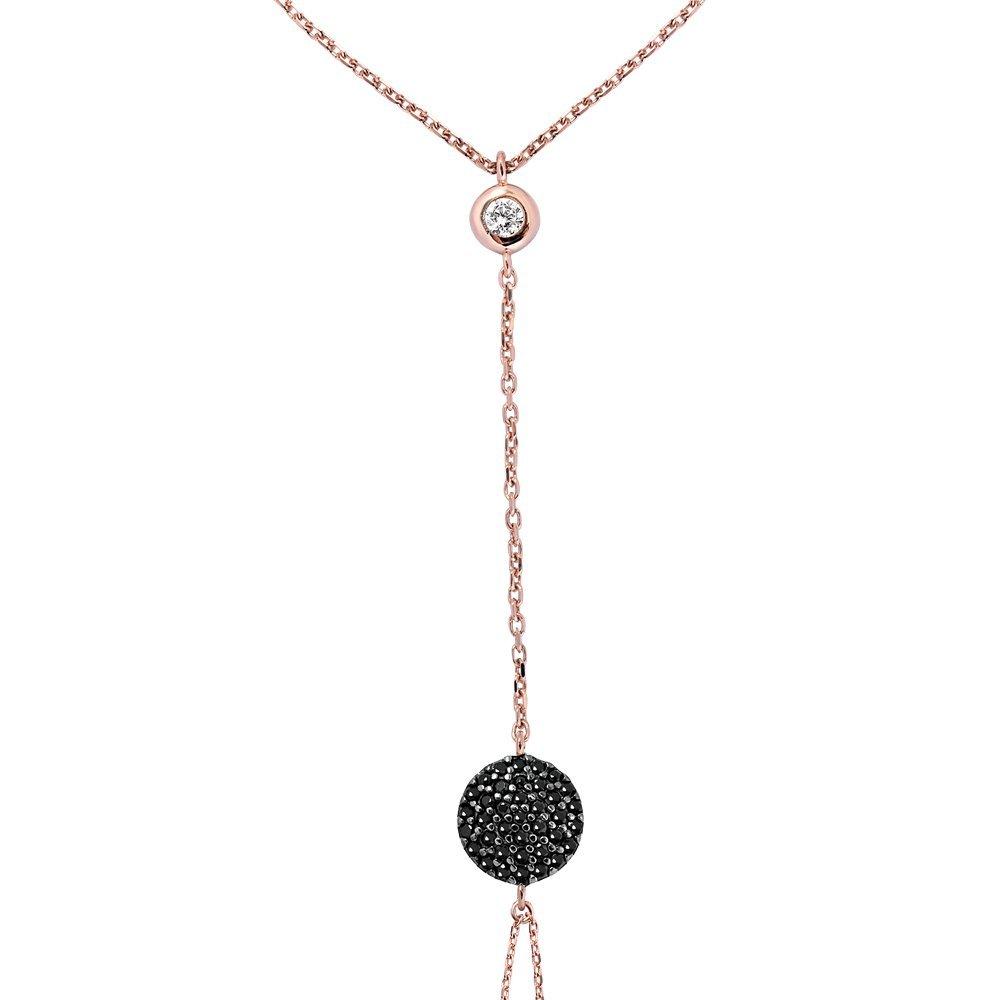 Yuvarlak Tasarım Siyah Zirkon Taşlı 925 Ayar Gümüş Şahmeran Bileklik