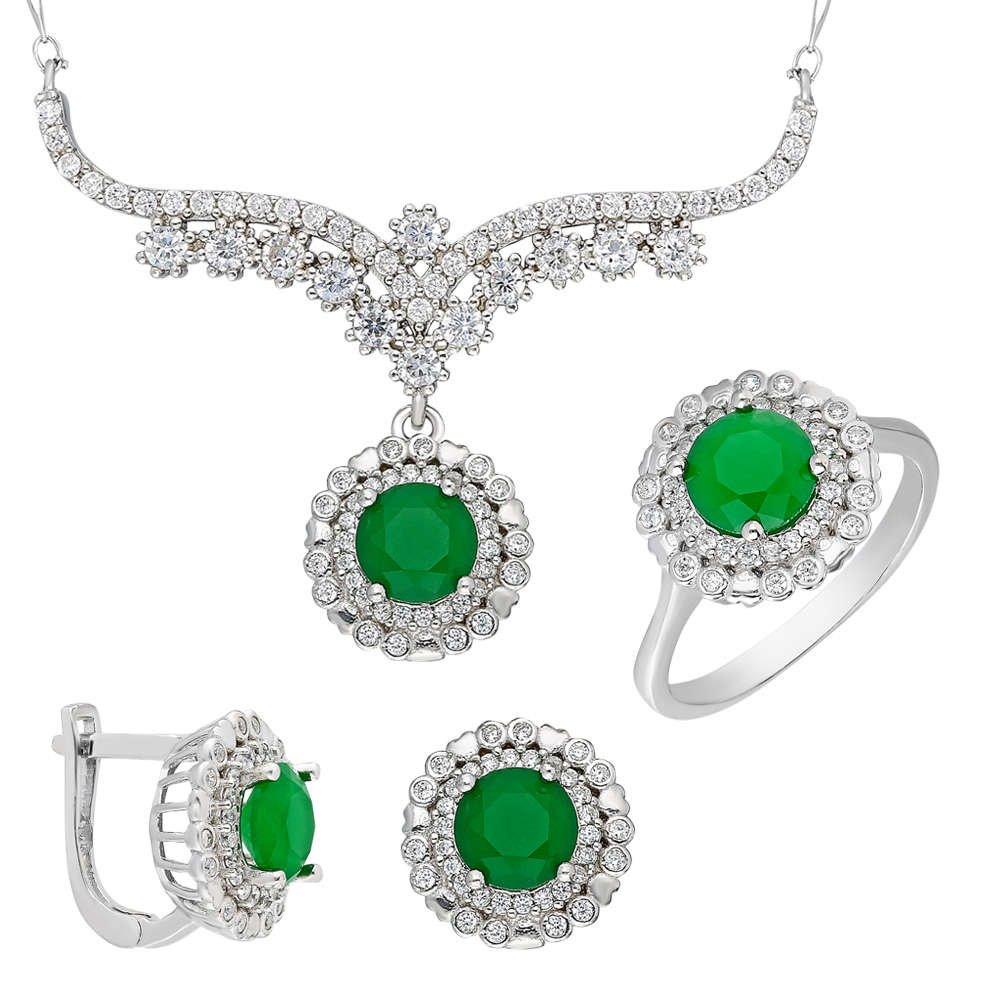 Yeşil Zirkon Taşlı 925 Ayar Gümüş 3'lü Takı Seti
